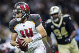 NEW ORLEANS, LA - SEPTEMBER 9:  Ryan Fitzpatrick #14 of the Tampa Bay Buccaneers runs the ball during a game against the New Orleans Saints at Mercedes-Benz Superdome on September 9, 2018 in New Orleans, Louisiana.  The Buccaneers defeated the Saints 48-40.  (Photo by Wesley Hitt/Getty Images)