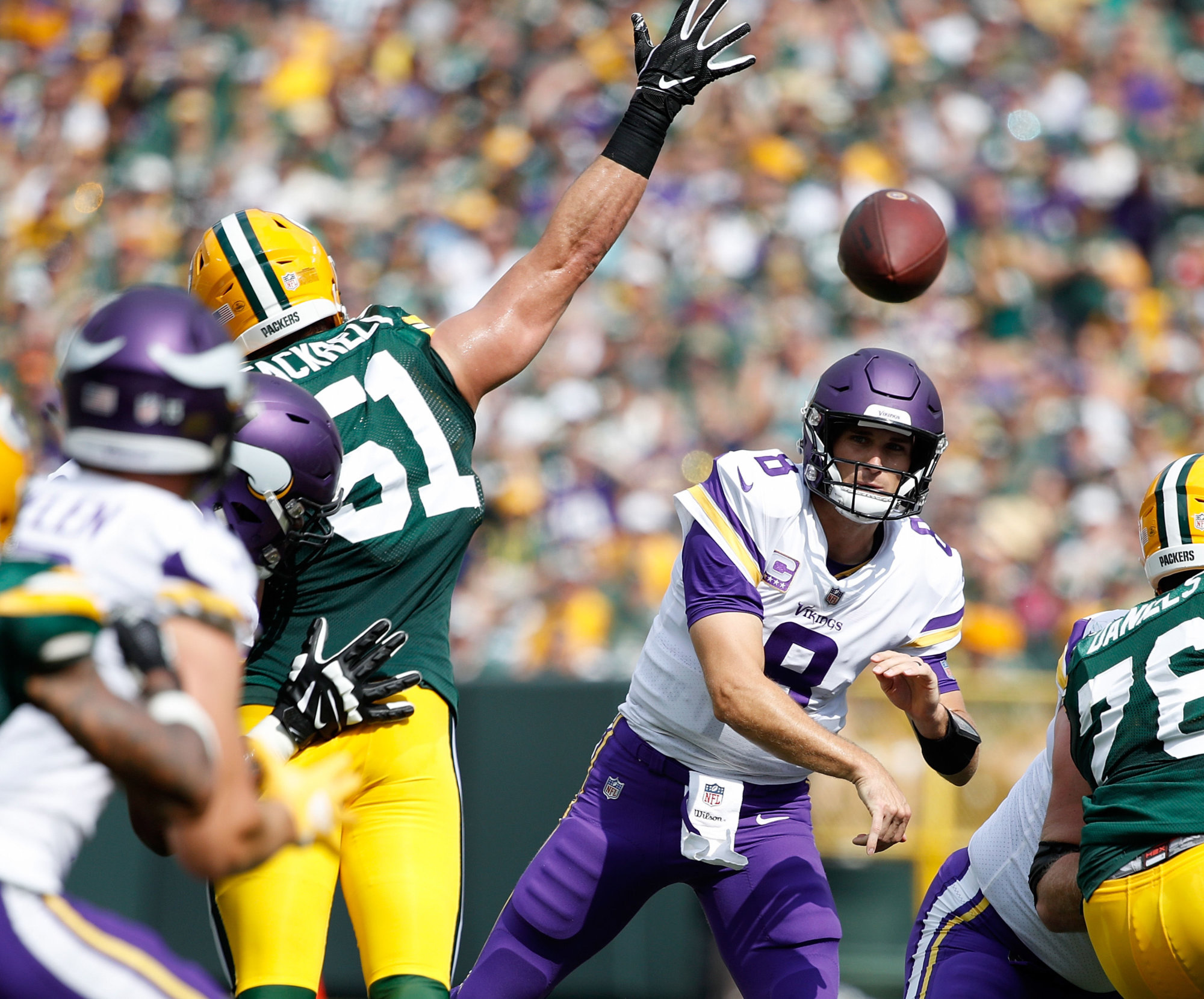 GREEN BAY, WI - SEPTEMBER 16:  Kirk Cousins #8 of the Minnesota Vikings throws a pass during the first quarter of a game against the Green Bay Packers at Lambeau Field on September 16, 2018 in Green Bay, Wisconsin.  (Photo by Joe Robbins/Getty Images)