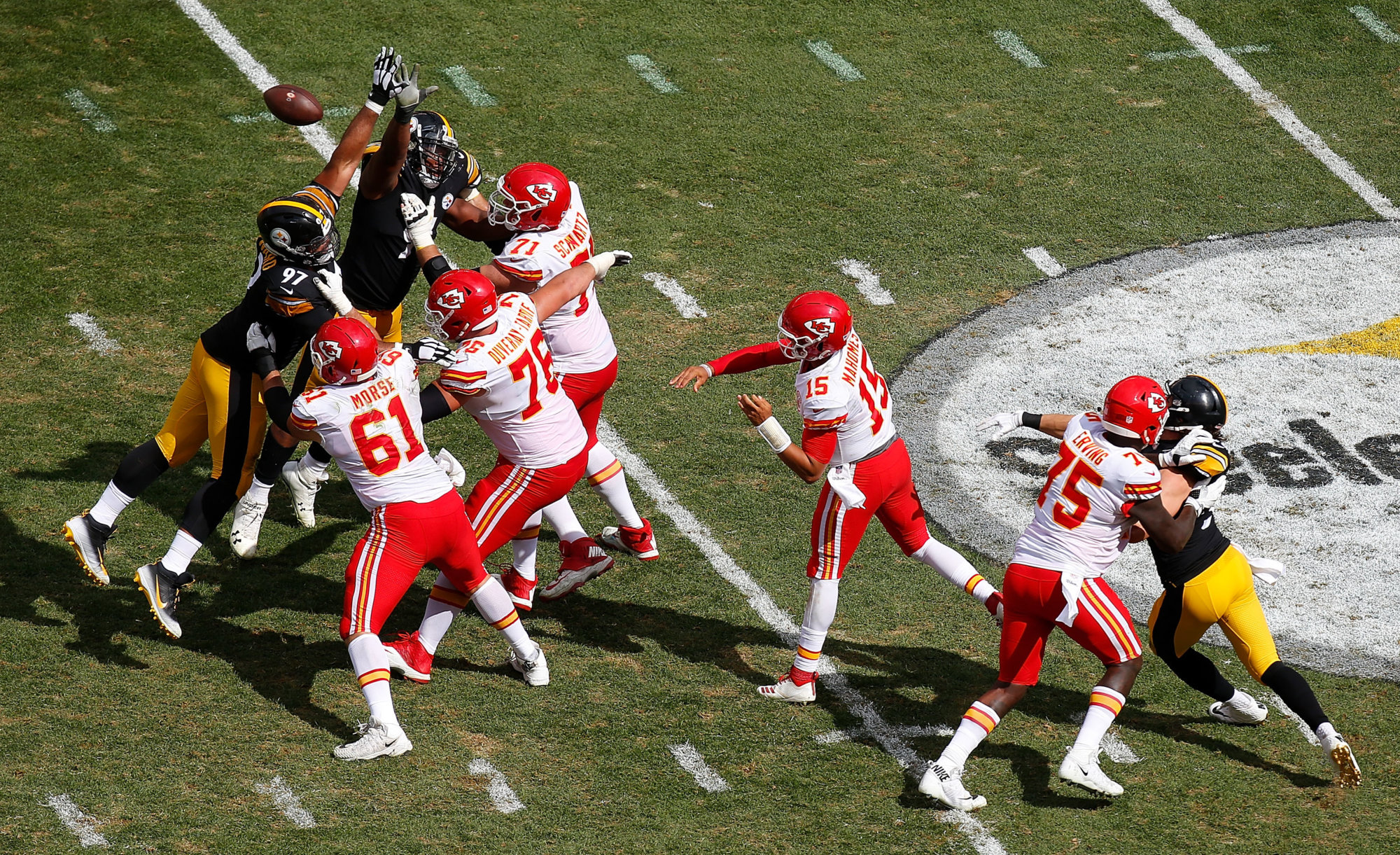 PITTSBURGH, PA - SEPTEMBER 16: Patrick Mahomes #15 of the Kansas City Chiefs passes in the second half during the game against the Pittsburgh Steelers at Heinz Field on September 16, 2018 in Pittsburgh, Pennsylvania. (Photo by Justin K. Aller/Getty Images)