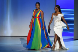 LOS ANGELES, CA - SEPTEMBER 17:  Tiffany Haddish (L) and Angela Bassett walk onstage during the 70th Emmy Awards at Microsoft Theater on September 17, 2018 in Los Angeles, California.  (Photo by Kevin Winter/Getty Images)