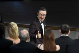 LOS ANGELES, CA - SEPTEMBER 17:  John Oliver reacts after being named winner of the Outstanding Variety Talk Series award for 'Last Week Tonight with John Oliver' during the 70th Emmy Awards at Microsoft Theater on September 17, 2018 in Los Angeles, California.  (Photo by Kevin Winter/Getty Images)