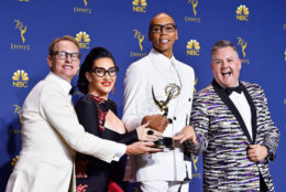 LOS ANGELES, CA - SEPTEMBER 17: Outstanding Reality-Competition Program winners Carson Kressley, Michelle Visage, RuPaul, and Ross Mathews pose in the press room during the 70th Emmy Awards at Microsoft Theater on September 17, 2018 in Los Angeles, California. (Photo by Frazer Harrison/Getty Images)