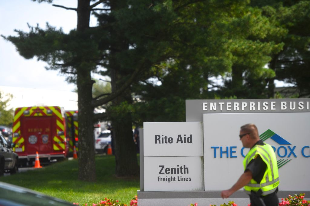 ABERDEEN, MD - SEPTEMBER 20:  Police barricade the entrance to a Rite Aid Distribution Center where multiple people were killed and injured in a shooting on September 20, 2018 in Aberdeen, Maryland. A woman opened fire at the distribution center killing three and wounding several others. The suspect, in critical condition, was taken into custody. (Photo by Mark Makela/Getty Images)