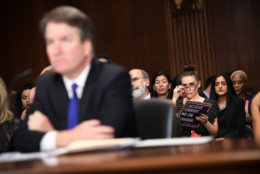 WASHINGTON, DC - SEPTEMBER 27: Actress and activist Alyssa Milano (R) listens to Supreme Court nominee Brett Kavanaugh as he testifies before the U.S. Senate Judiciary Committee on Capitol Hill on September 27, 2018 in Washington, DC. Kavanaugh was called back to testify about claims by Dr. Christine Blasey Ford, who has accused him of sexually assaulting her during a party in 1982 when they were high school students in suburban Maryland. (Photo by Saul Loeb - Pool /Getty Images)