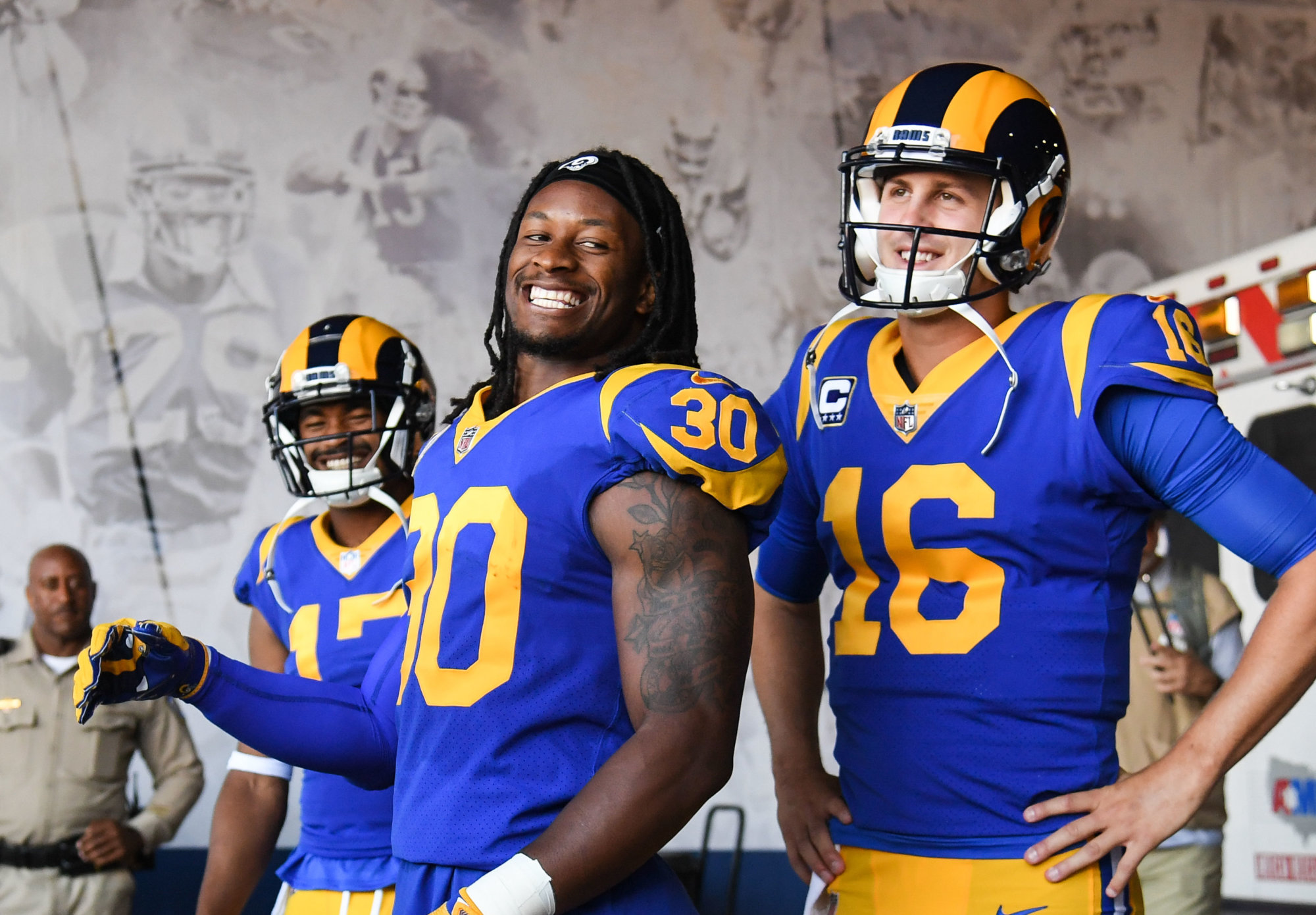 LOS ANGELES, CA - SEPTEMBER 27: Running back Todd Gurley #30 and quarterback Jared Goff #16 of the Los Angeles Rams enter the stadium through the tunnel area of their game against the Minnesota Vikings at Los Angeles Memorial Coliseum on September 27, 2018 in Los Angeles, California. (Photo by Harry How/Getty Images)