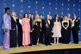 LOS ANGELES, CA - SEPTEMBER 17:  Cast and crew of Outstanding Variety Sketch Series winner Saturday Night Live pose in the press room during the 70th Emmy Awards at Microsoft Theater on September 17, 2018 in Los Angeles, California.  (Photo by Frazer Harrison/Getty Images)