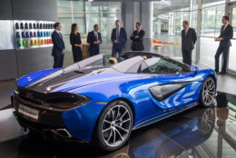 WOKING, ENGLAND - SEPTEMBER 12:   Prince William, Duke of Cambridge (C) is shown a McLaren 720S, by Mike Flewitt (3rd L), CEO of McLaren Automative during a visit to McLaren Automotive at McLaren Technology Centre on September 12, 2017 in Woking, England.  (Photo by Chris J Ratcliffe - WPA Pool/Getty Images)