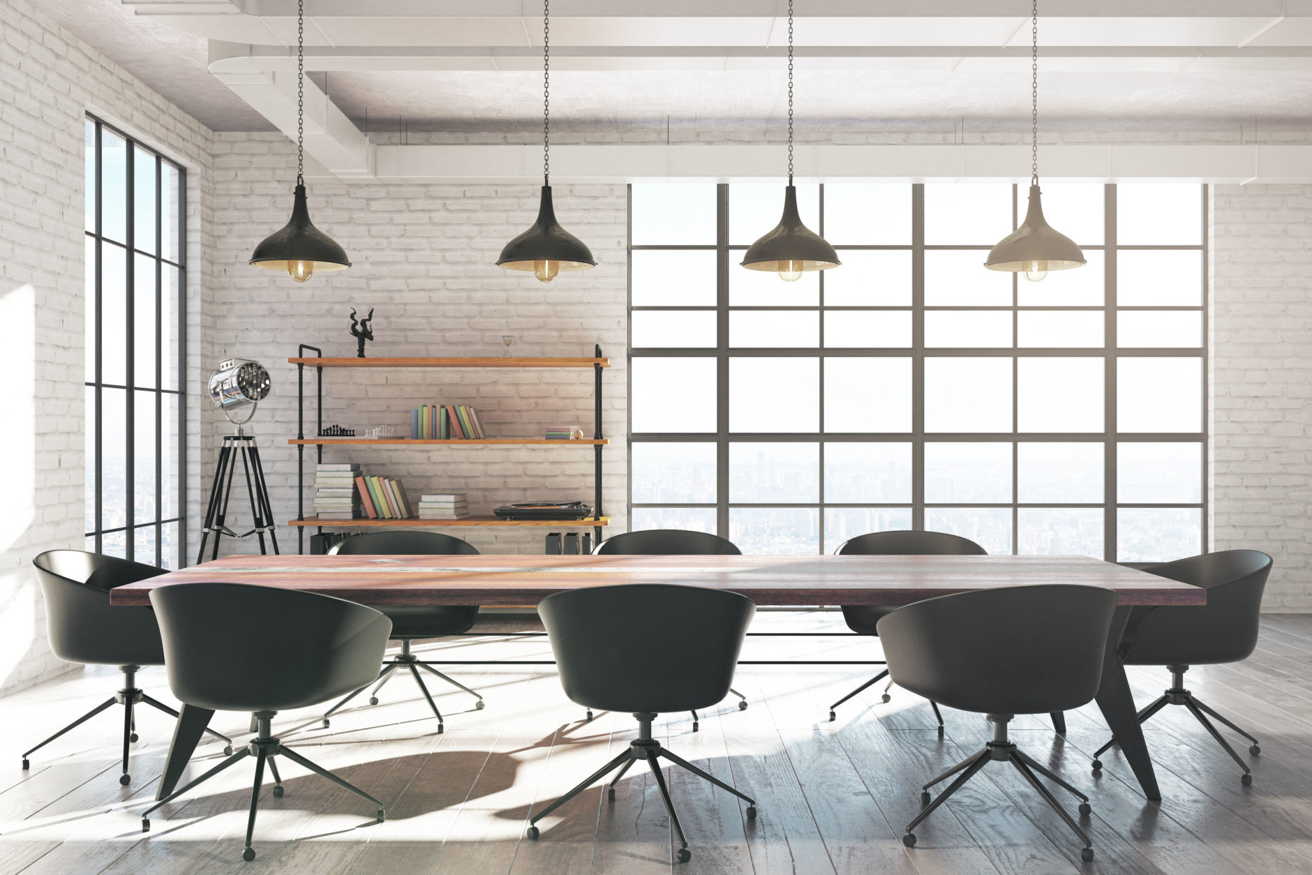 Modern white brick meeting room interior with equipment and sunlight. 3D Rendering