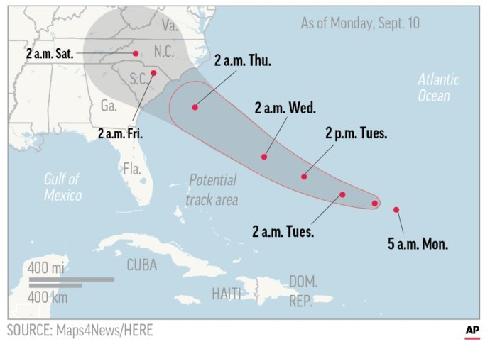 Hurricane Florence Map Shows Probable Path Of Cinci Mm