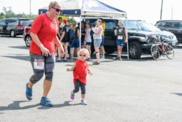 Mom and daughter duo attend the 2017, 1 Mile family fun run rocking sunglasses. (Courtesy Megan Evans Photography)
