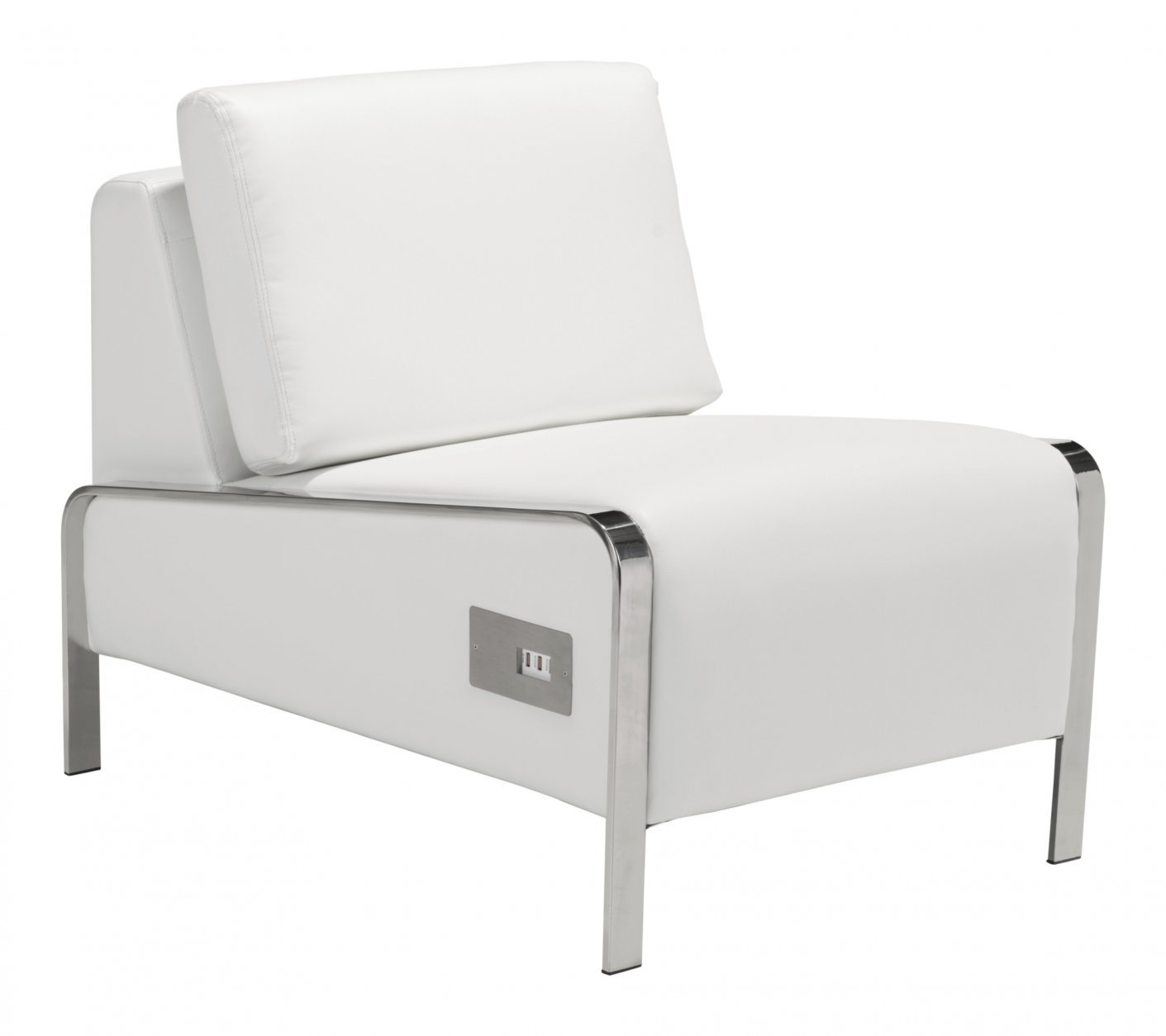 This undated photo provided by AllModern shows the Leeanne slipper chair from AllModern, which comes in white or black leatherette, and is equipped with three USB ports in the base. (AllModern via AP)