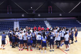 Mensah-Bonsu addressed the hopefuls after the morning tryout. He told WTOP he expects to sign three or four local players for this year's team. (WTOP/Noah Frank)