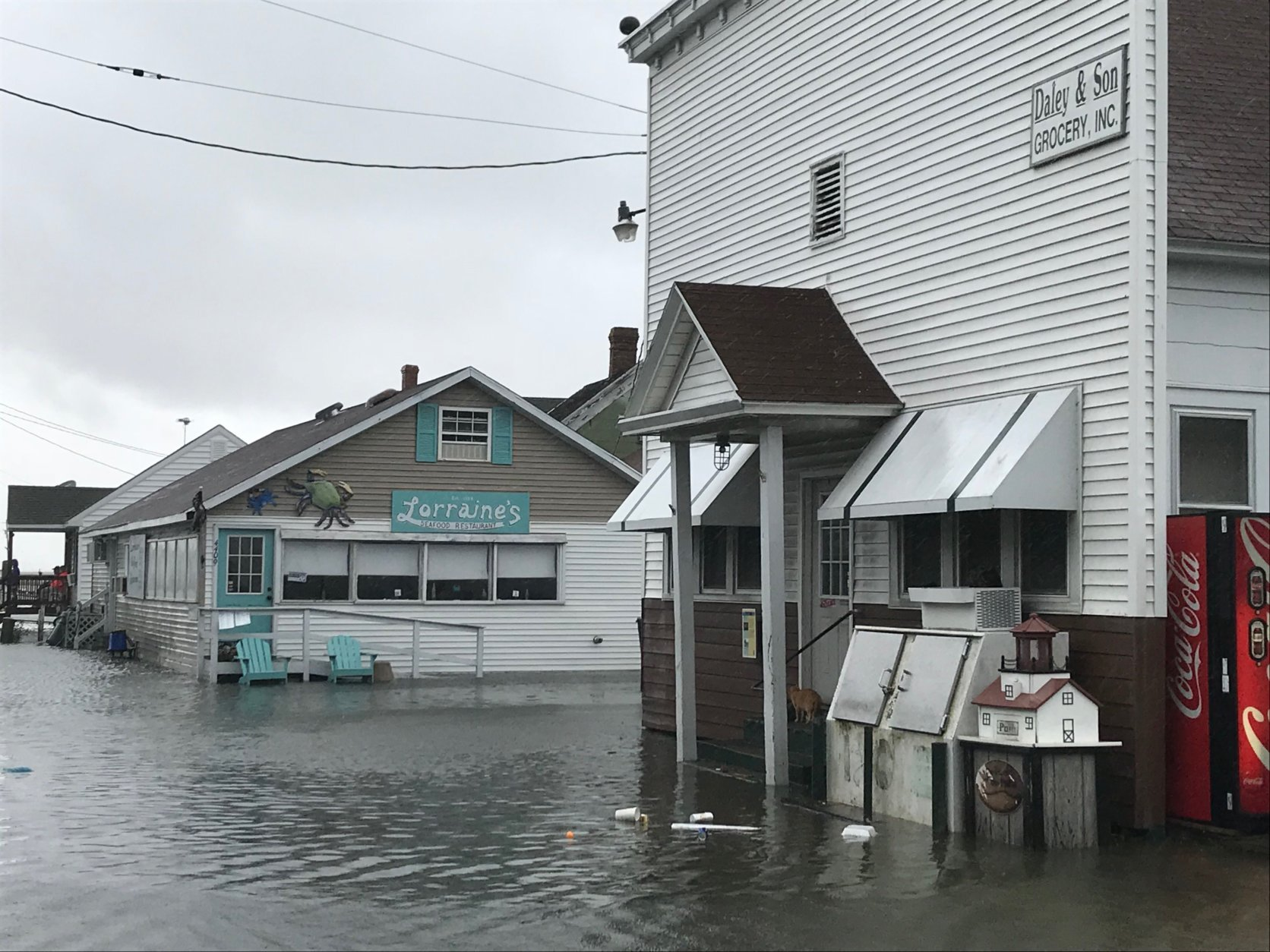 Flooding is not unusual on Tangier Island, which is only about 4 feet above sea level. Here, the front of a restaurant and a store are experiencing flooding on  Sunday, Sept. 9, 2018. (WTOP/Michelle Basch)
