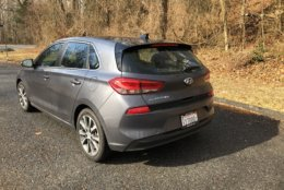 Usually, the rear end styling is bland, but the Elantra GT has some interesting shapes, especially below the rear hatch. (WTOP/Mike Parris)