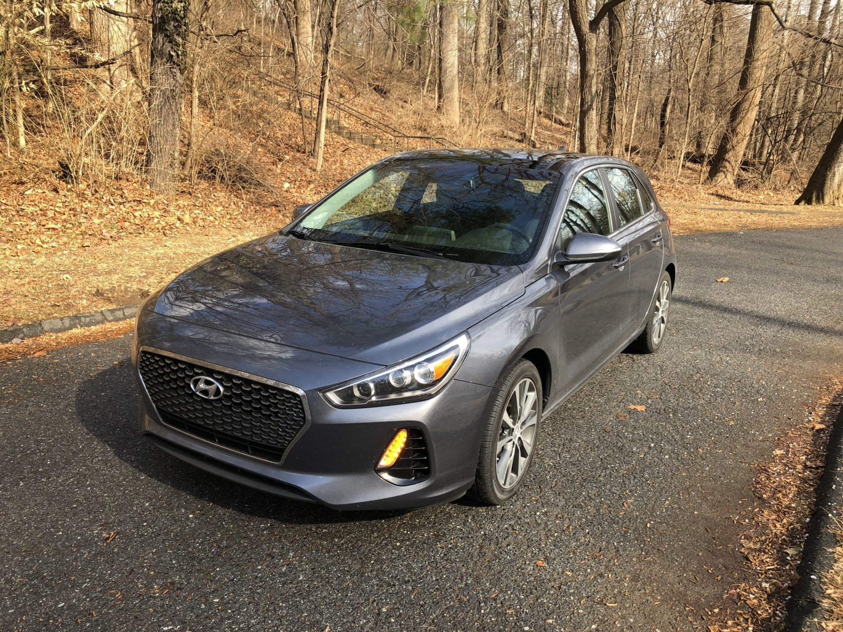The five-door hatchback version of the Elantra adds utility to this compact, making it comparable to a small crossover size inside.   (WTOP/Mike Parris)