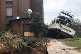 A boat is displaced in New Bern, North Carolina. (WTOP/Steve Dresner)