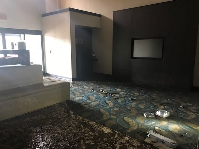 A Courtyard Marriott suffered heavy damage and expects to be closed for months in New Bern, North Carolina. (WTOP/Steve Dresner)