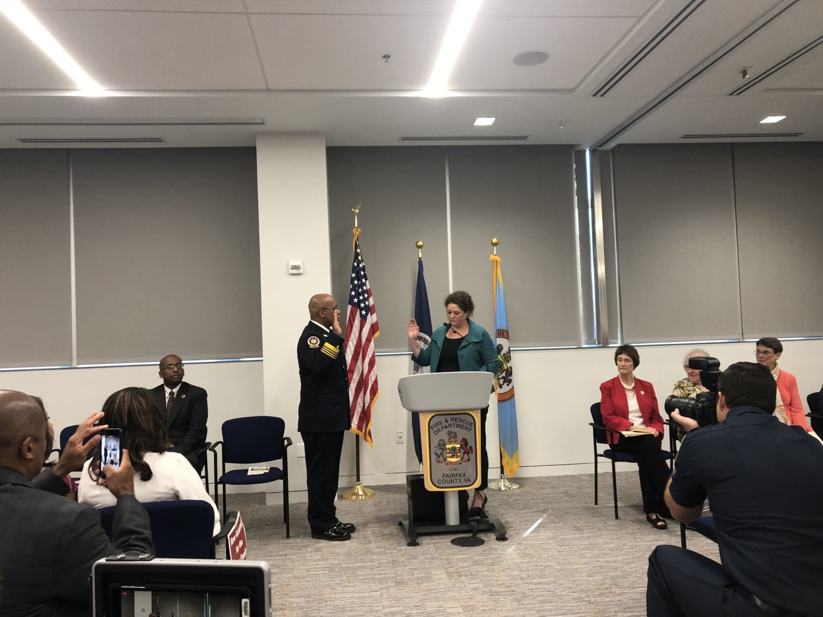 Fairfax County Fire Chief John Butlers swearing in WTOP/Max Smith)