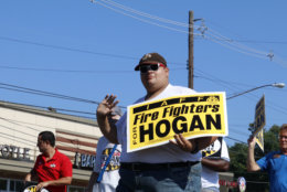 Hogan supporters showed up to support their candidate in the Kensington Labor Day parade. Hogan won the support of the IAFF : the Labor Union that represents firefighters. (WTOP/Kate Ryan)