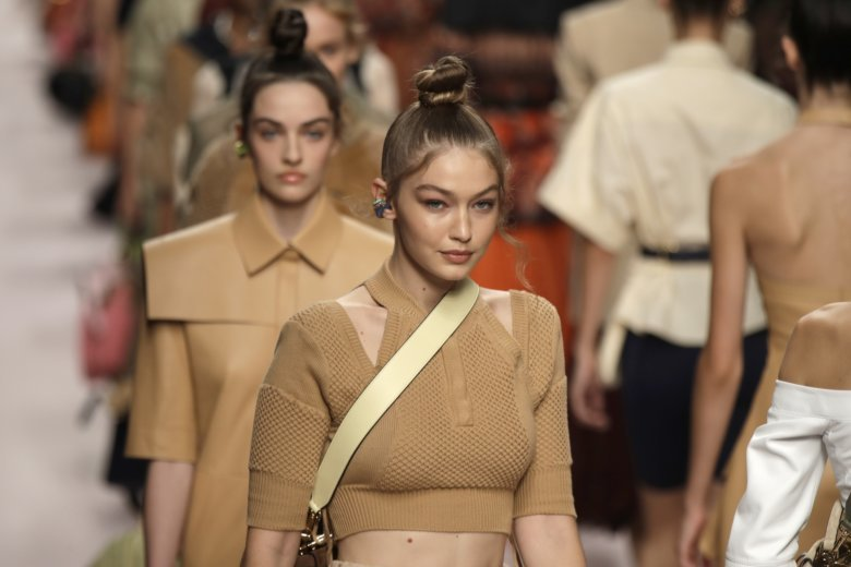 235c33f3525 Model Gigi Hadid wears a creation as part of the Fendi women s 2019 Spring-Summer  collection, unveiled during the Fashion Week in Milan.