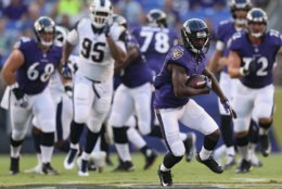 BALTIMORE, MD - AUGUST 09: John Brown #13 of the Baltimore Ravens rushes against the Los Angeles Rams in the first half during a preseason game at M&T Bank Stadium on August 9, 2018 in Baltimore, Maryland. (Photo by Patrick Smith/Getty Images)