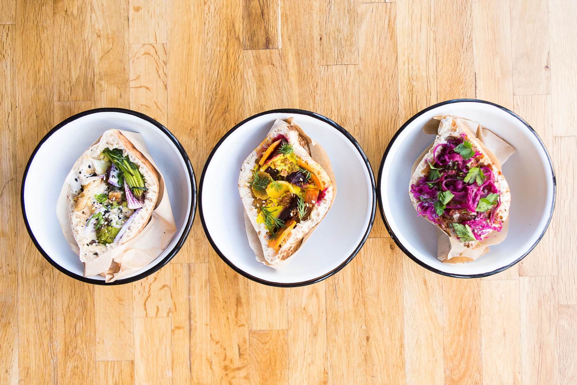 At Little Sesame, hummus is the star of the menu in bowls and sandwiches. (Courtesy Anna Meyer)