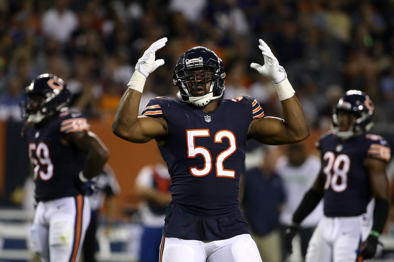 CHICAGO, IL - SEPTEMBER 17:  Khalil Mack #52 of the Chicago Bears reacts in the third quarter against the Seattle Seahawks at Soldier Field on September 17, 2018 in Chicago, Illinois.  (Photo by Jonathan Daniel/Getty Images)