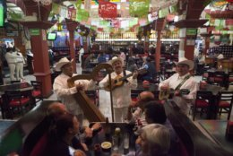 FILE - In this Aug. 12, 2015 file photo, a jarocho band plays for patrons inside Salon Tenampa restaurant and bar in Garibaldi Plaza in Mexico City.  At the Tenampa, which bills itself as having first brought mariachi troupes to the plaza in the 1920s, a manager said it was business as usual Saturday, Sept. 15, 2018, despite a brazen Friday night shooting that killed four people and wounded nine in Garibaldi Plaza.  (AP Photo/Sofia Jaramillo, File)