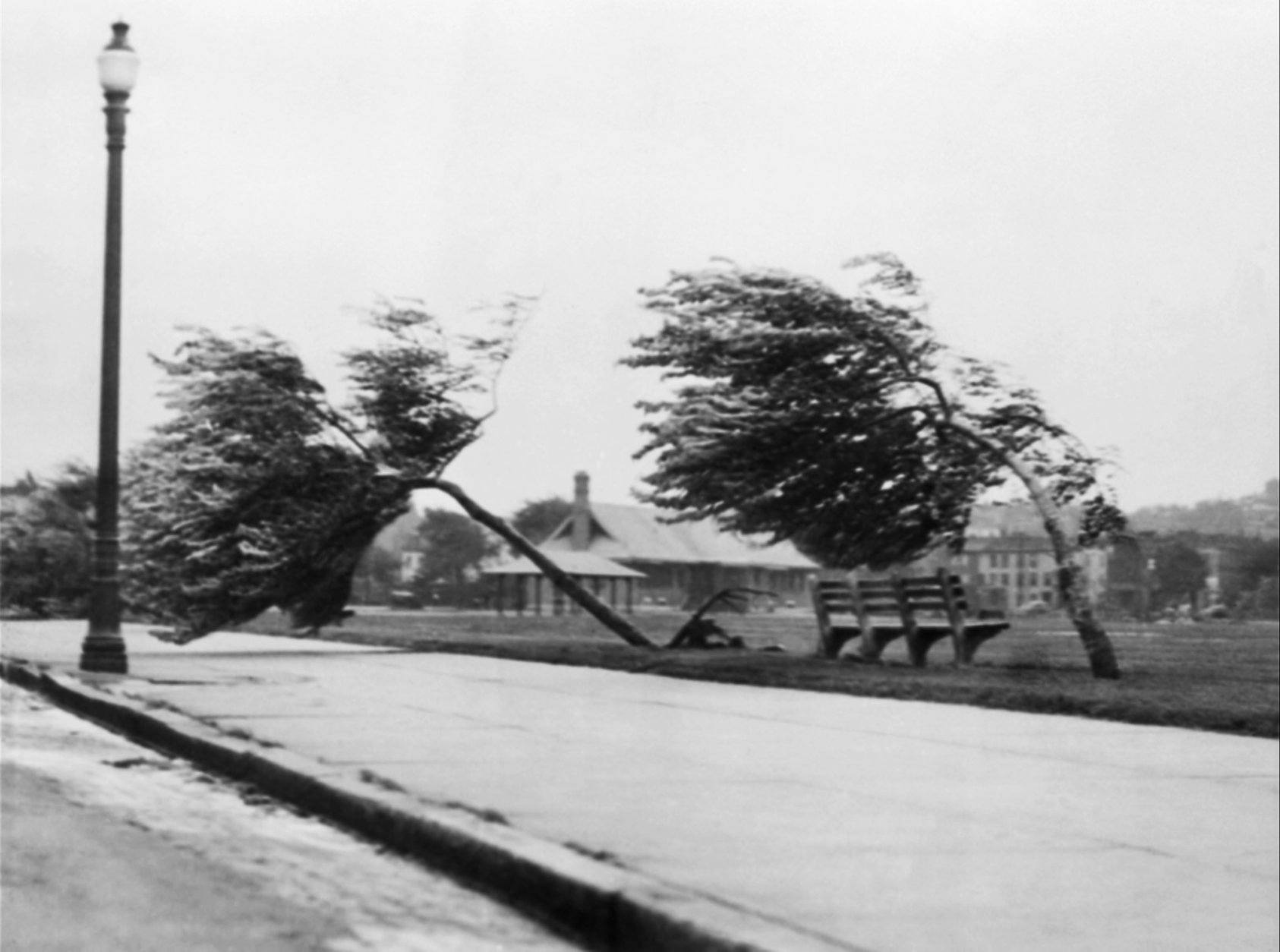 This Sep. 21, 1938 photo shows the Strandway in South Boston with 100-mile-an-hour hurricane winds which struck New England hard. It's been nearly 73 years since the Great New England Hurricane of 1938 _ one of the most powerful, destructive storms ever to hit southern New England, as another massive storm bears down. (AP Photo)