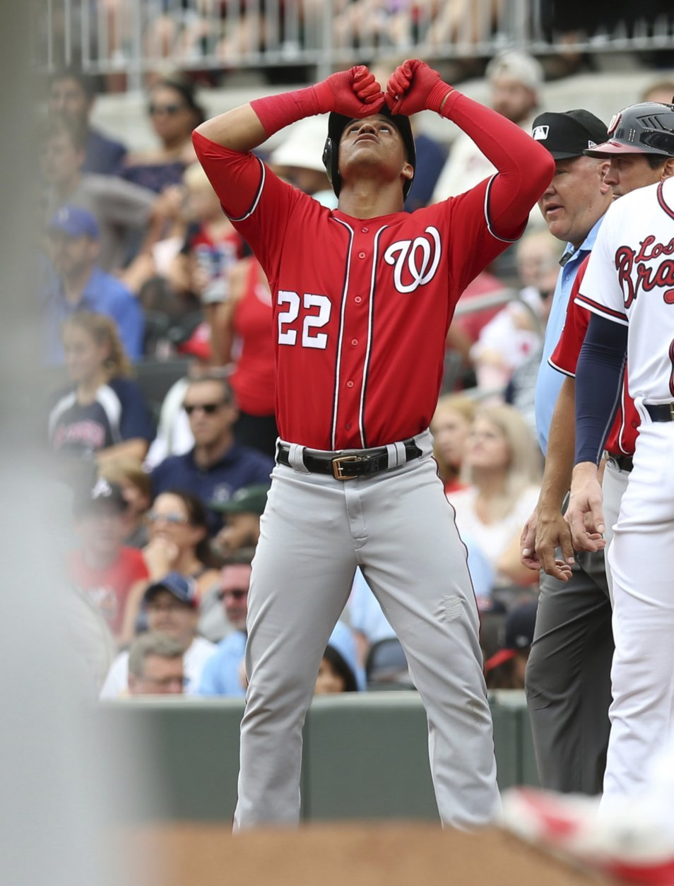 Washington Nationals' Juan Soto (22) reacts after a hit against the Atlanta Braves in the first inning of a baseball game Sunday, Sept. 16, 2018, in Atlanta. (AP Photo/Tami Chappell)