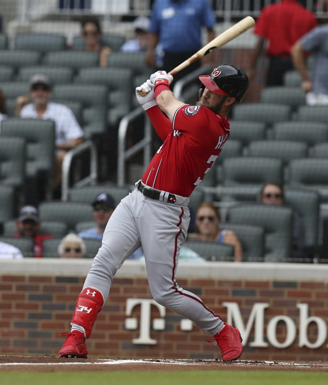 Washington Nationals' Bryce Harper hits a two-run home run against the Atlanta Braves during the first inning of a baseball game Sunday, Sept. 16, 2018, in Atlanta. (AP Photo/Tami Chappell)