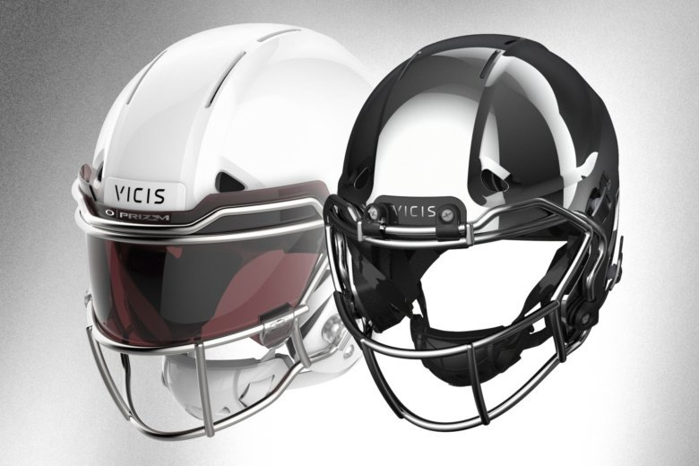 6939a0eb0ae This image provided by VICIS show the VICIS Varsity helmet for the pros,  left, and the Youth helmet that will be available in 2019, right. (VICIS  via AP)