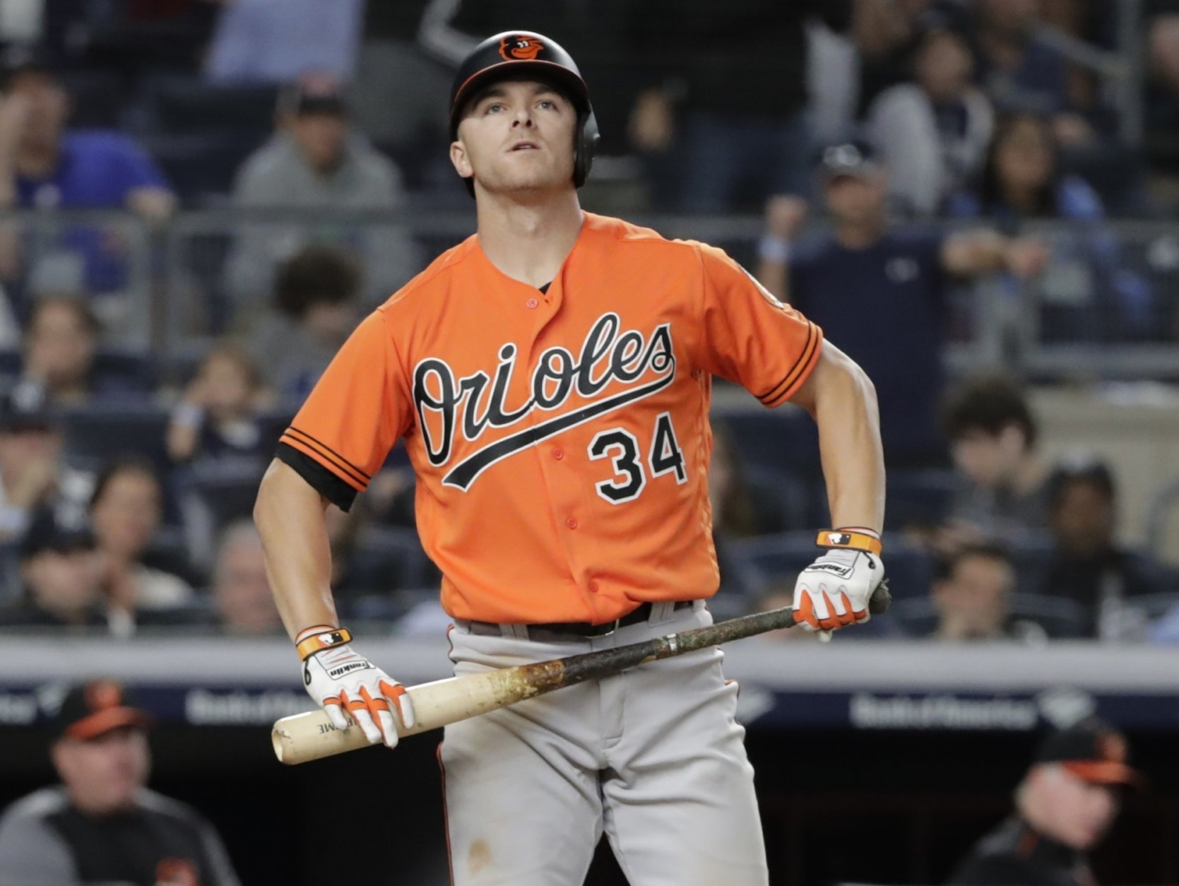 Baltimore Orioles' John Andreoli (34) reacts after striking out during the eleventh inning of a baseball game against the New York Yankees Saturday, Sept. 22, 2018, in New York. (AP Photo/Frank Franklin II)