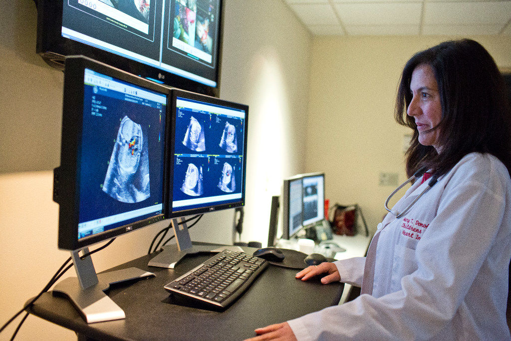 Dr. Mary Donofrio, Children's National cardiologist, reviews Abigail's ultrasound, which shows Julia has an underdeveloped left ventricle, or heart-pumping chamber. (Courtesy Children's National)