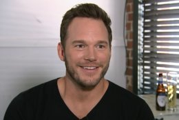 This Aug. 14, 2018 image taken from video shows actor Chris Pratt during an interview at the Fellow Bar in Los Angeles. Pratt met with disabled athletes as part of the nonprofit group Achilles International. He surprised them with the news that they're being sponsored in the New York City Marathon.  (AP Photo/Jeff Turner)
