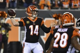 Cincinnati Bengals quarterback Andy Dalton throws in the first half of an NFL football game against the Baltimore Ravens, Thursday, Sept. 13, 2018, in Cincinnati. (AP Photo/Bryan Woolston)
