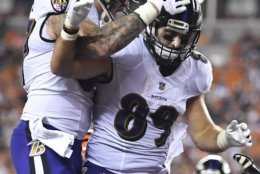 Baltimore Ravens tight end Mark Andrews (89) celebrates his touchdown in the first half of an NFL football game against the Cincinnati Bengals, Thursday, Sept. 13, 2018, in Cincinnati. (AP Photo/Bryan Woolston)