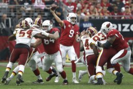 Arizona Cardinals quarterback Sam Bradford (9) throws against the Washington Redskins during the first half of an NFL football game, Sunday, Sept. 9, 2018, in Glendale, Ariz. (AP Photo/Ross D. Franklin)