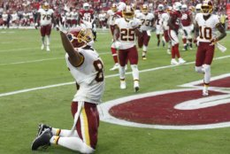 Washington Redskins tight end Jordan Reed (86) celebrates his touchdown against the Arizona Cardinals during the first half of an NFL football game, Sunday, Sept. 9, 2018, in Glendale, Ariz. (AP Photo/Ross D. Franklin)
