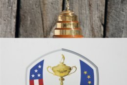FILE - In this July 1, 2018, file photo, the Ryder Cup Trophy is displayed during the last day of the French Open golf tournament at the Albatros Course in Guyancourt, south west of Paris, France. The 42nd Ryder Cup Matches will be held in France from Sept. 28-30, 2018 at the Albatros Course. (AP Photo/Francois Mori)