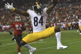 Pittsburgh Steelers wide receiver Antonio Brown (84) celebrates after his 27-yard score against the Tampa Bay Buccaneers during the first half of an NFL football game Monday, Sept. 24, 2018, in Tampa, Fla. (AP Photo/Jason Behnken)