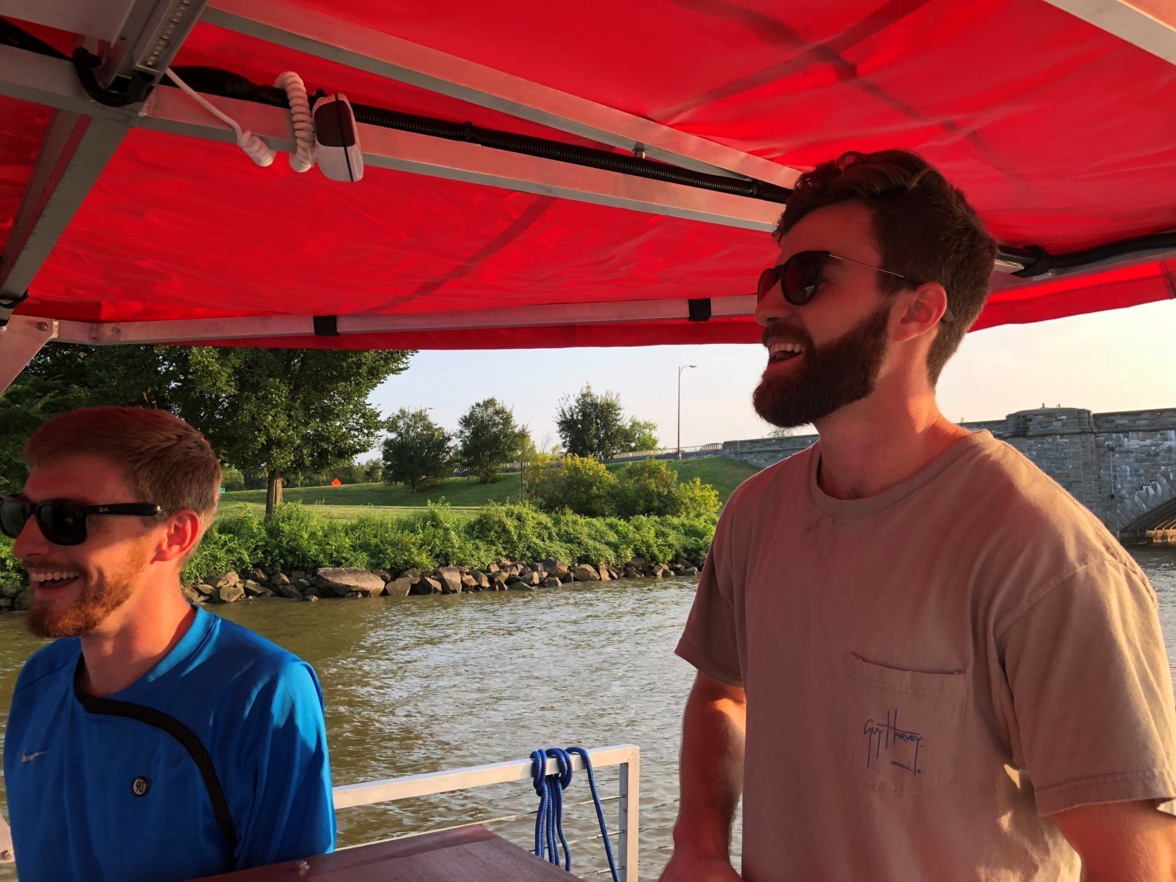 "Jack Maher and Jack Walton — or ""The Jacks"" as they're known — came up with the idea for their 15-passenger boat after seeing similar attractions on land.(WTOP/Melissa Howell)"