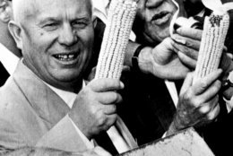 FILE - In this Sept. 23, 1959, file photo, Soviet Premier Nikita Khrushchev and Roswell Garst pose with corn cobs during an inspection tour of The Garst Farm in Coon Rapids, Iowa. Khrushchev became the first Soviet leader to visit the U.S. He traveled to Washington, New York, California and Iowa and held meetings with President Dwight Eisenhower. (AP Photo/File)
