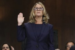 Christine Blasey Ford is sworn in to testify before the Senate Judiciary Committee, Thursday, Sept. 27, 2018 in Washington. (Win McNamee/Pool Image via AP)