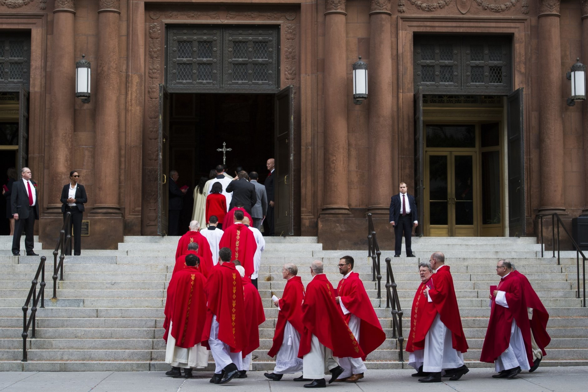 Celebrants enter the Cathedral of St. Matthew the Apostle for the 66th Red Mass, before the U.S. Supreme Court's new term opens, in Washington, Sunday, Sept. 30, 2018. The Court's session opens Monday, Oct. 1. (AP Photo/Cliff Owen)