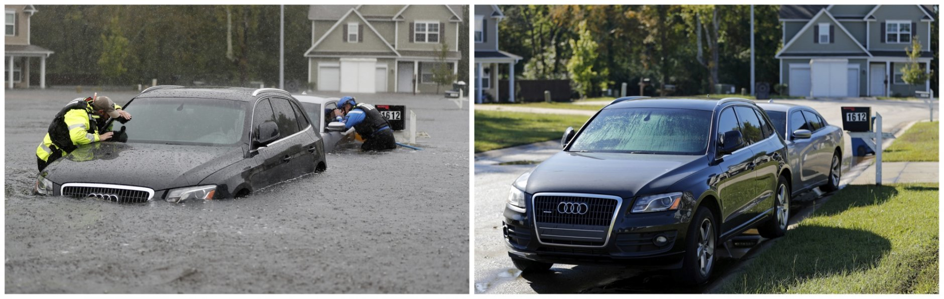 This combination of photos shows the North Carolina Task Force urban search and rescue team on Sept. 16, 2018, left, and on Sept. 19, 2018, after the rain receded in the aftermath of Hurricane Florence in Fayetteville, N.C. (AP Photo/David Goldman)