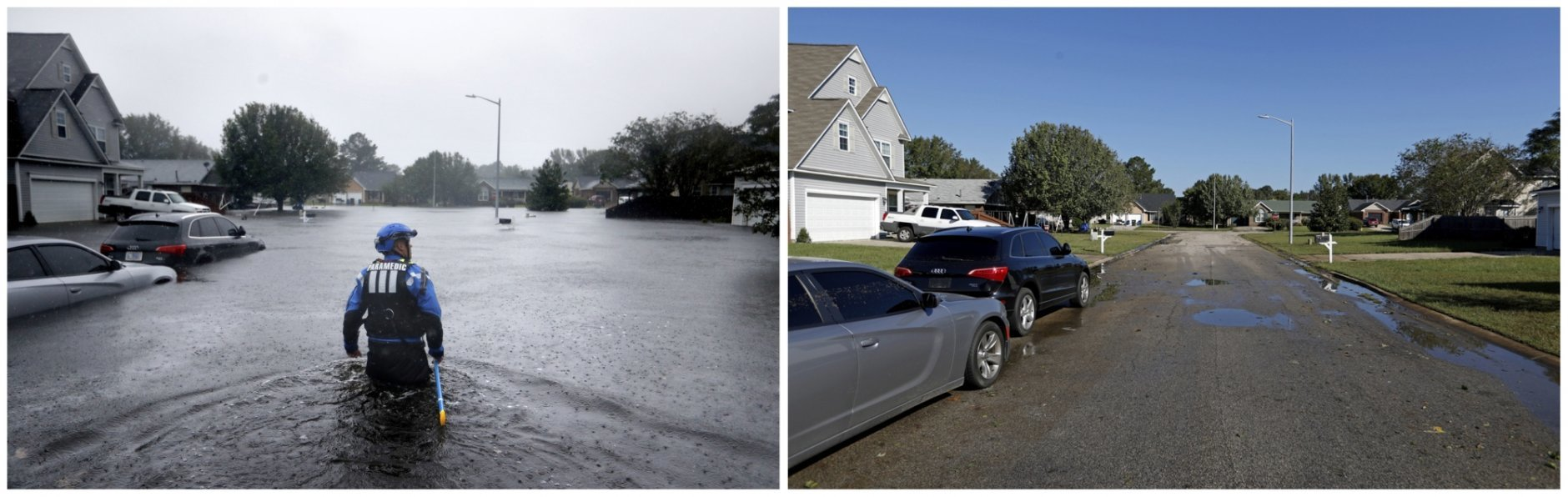 This combination of photos shows a member of the North Carolina Task Force urban search and rescue team on Sept. 16, 2018, left, and on Sept. 19, 2018, after the water receded in the aftermath of Hurricane Florence in Fayetteville, N.C. (AP Photos/David Goldman)