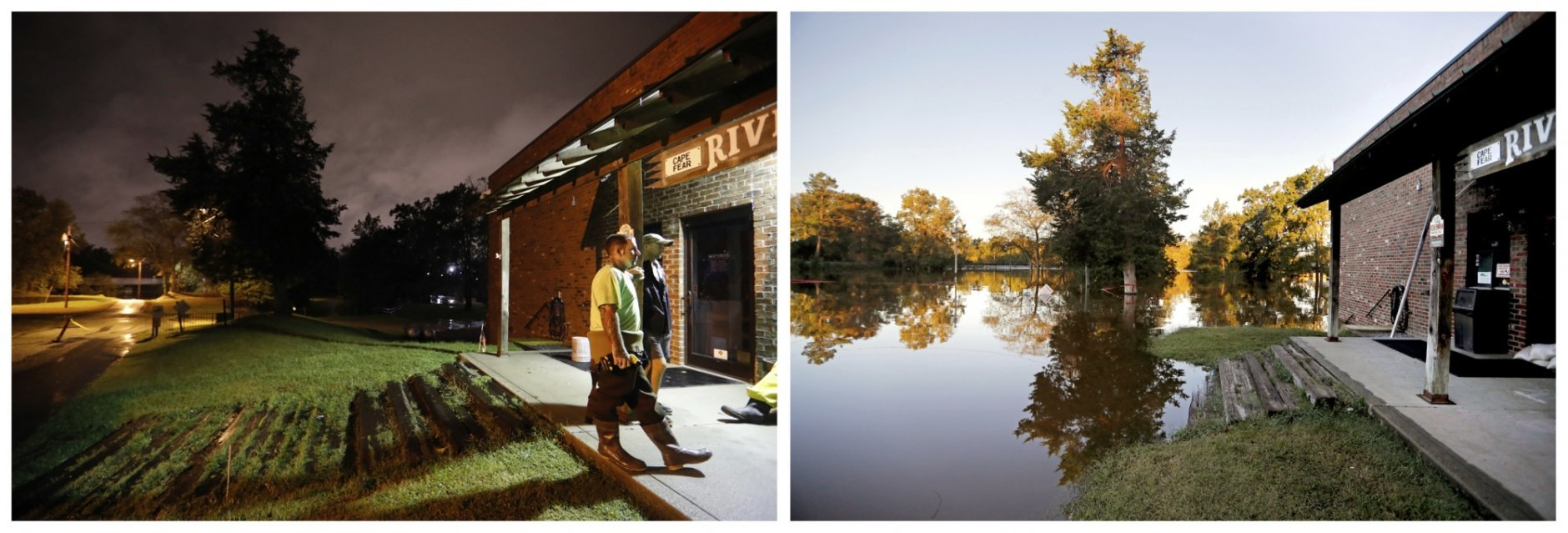 This combination of photos shows Cape Fear River in the background behind a bait and tackle shop on Sept. 16, 2018, left, and on Sept. 19, 2018, in the aftermath of Hurricane Florence on Fayetteville, N.C. (AP Photo/David Goldman)