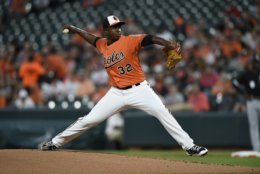Baltimore Orioles pitcher Yefry Ramirez delivers against the Chicago White Sox in the first inning of a baseball game, Saturday, Sept. 15, 2018, in Baltimore. (AP Photo/Gail Burton)