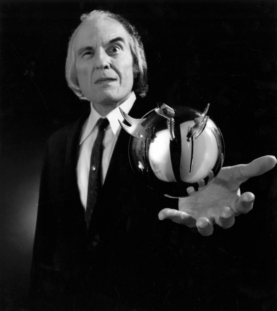 "<p>Angus Scrimm, The Tall Man, holds one of the series' iconic Spheres in a ""Phantasm"" production still. (Courtesy Silver Sphere Productions)</p>"